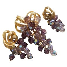 Vintage Park Lane Purple Beaded Clusters Set