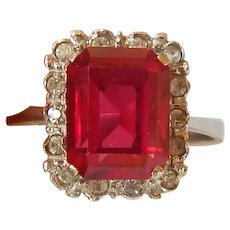 Gorgeous Ruby, Diamond & 14K WG Ring 8.5