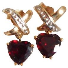 10k Gold & Garnet Pierced Heart Earrings
