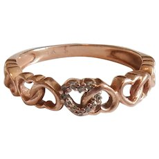 10k Rose Gold Hearts Ring