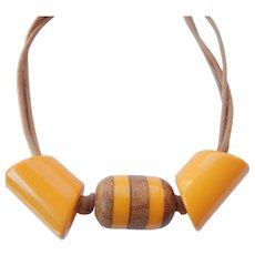 Butterscotch Bakelite & Wood Necklace