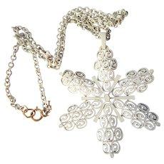 Trifari Enameled Snowflake Necklace