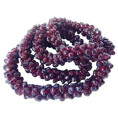 Vintage Beaded Rhodolite Garnet Necklace