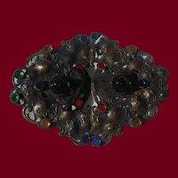 Stunning Nouveau Brass & Glass Buckle