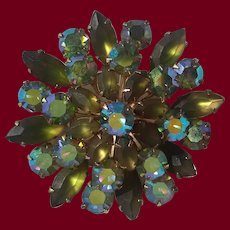 Frosted Green Coro Brooch