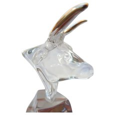 Glass & Silver Taurus Bull Paperweight Sculpture