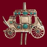 Vintage Pewter Tone Carriage Bolo Tie