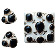 Castlecliff Enameled Brooch & Earrings