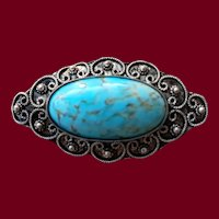 Persian Silver & Turquoise Brooch