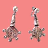 Vintage Mexican Sterling Spiral Earrings