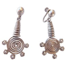 Vintage Mexican Sterling Spiral Earrings