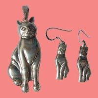 3D Sterling Cat Pendant & Earrings