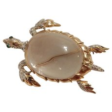 Trifari Sterling Jelly Belly Turtle Brooch Philippe