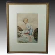 William Ingles 20th Century Watercolor Boy Sailing Pond Yacht Seashore British, 1910-1940 Art Deco
