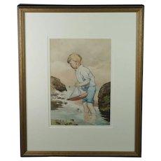 William Ingles 20th Century Watercolor, Child Sailing Pond Yacht Seashore British, 1910-1940, Art Deco