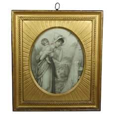Georgian 18th Century Stipple Engraving Gorgeous Gilt Frame Harriet Lady Cockerell After Richard Cosway 1790