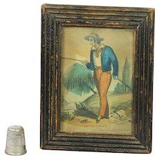 Antique Miniature Nursery Print Fishing By John Fairburn Circa 1820 Original Frame