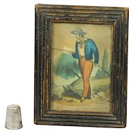 Georgian Miniature Cottage Print Fishing By John Fairburn Circa 1820 Original Frame