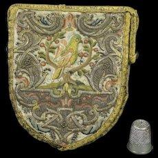Rare French 18th Century Purse Shield Shape Parrot Birds Steel Mitre Frame Circa 1720