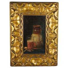 Antique Still Life Oil on Board by George Frederick Harris Welsh Artist Signed Dated 1905 STUNNING Frame