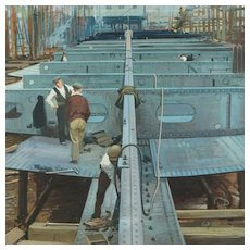 John Berry Watercolor British Industrial Landscape Ship Building Artist Illustrator Ladybird Books Circa 1950