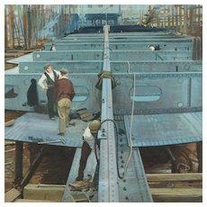 Vintage Watercolor British Industrial Landscape, Ship Building by Artist John Berry Illustrator Ladybird Books Circa 1950