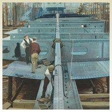 John Berry Watercolor British Industrial Landscape Ship Building Artist Illustrator Ladybird Books Circa 1950