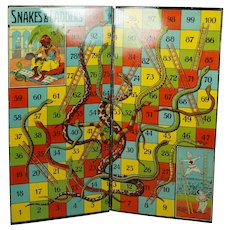 Antique English Tin Plate Toy Snakes And Ladders Board 1910 Burnett Limited