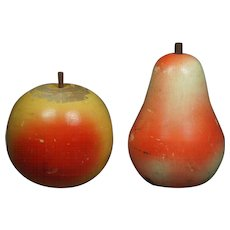 Antique French Novelty Fruit Coin Bank Wood Money Box Apple and Pear Circa 1890