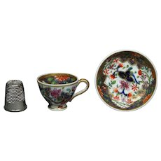 Antique Georgian Miniature Spode Doll Size Toy Cup and Saucer Regency Era Imari Pattern 3071 Circa 1820 AF