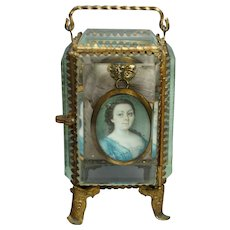 Antique 19th Century French Glass Pocket Watch Holder Stand Display Vitrine Box Circa 1870