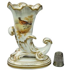 19th Century English Miniature Porcelain Cornucopia Vase, Stunning Hand Painted Bird And Butterfly, Regency Circa 1815 AF