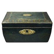 19th Century Regency RARE Green Leather Small Sewing Box Gilt Basket Handle Circa 1820 Georgian George III
