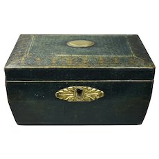 19th Century Regency RARE Green Leather Small Sewing Box Gilt Basket Handle Circa 1820 Georgian George III