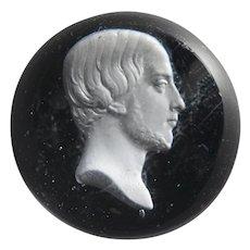 19th Century French Miniature Clichy Glass Sulphide Portrait Paperweight Comte de Chambord, Duc D'Orleans Circa 1845