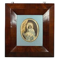 Antique French Needlework On Paper Devotional Colifichet Pin Prick Convent Work 18th Century