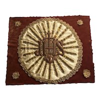 Antique 19th Century French Ecclesiastical Metallic Embroidery Panel Circa 1850s AF Church Needlework