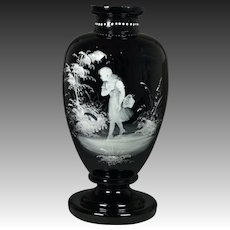 Antique 19th Century Large Amethyst Glass Vase Mary Gregory Circa 1875