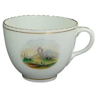 Antique English Circa 1830 Porcelain Cup Hand Painted Landscape Scene Georgian