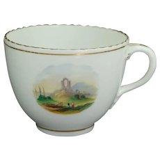 Antique English Tea Cup Circa 1830 Hand Painted Landscape Scene Georgian