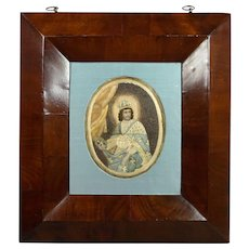 18th Century Colifichet, Double Sided Embroidery On Paper, Louis IX, Later Ogee Framed