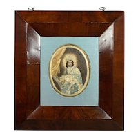 18th Century French Silk Needlework On Paper Devotional Colifichet Pin Prick Saint Louis