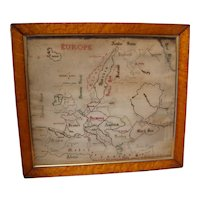 RARE 19th Century Extra Large Map Sampler Of Europe, Birds Eye Maple Frame 1864