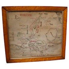 RARE 19th Century Extra Large Map Sampler Of Europe, Birds Eye Maple Frame 1864