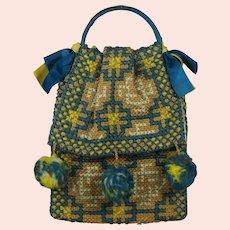 Fabulous Vintage Art Deco French Handbag 1930s Teal Blue Lime Green Wool Pom Poms