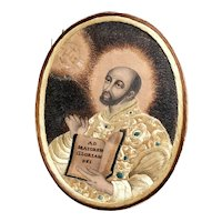 French 18th Century Jesuit Double Sided Silk Embroidery on Paper Pin Prick, Colifichet, St Ignatius C 1800