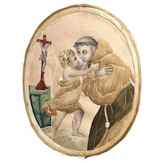 French 18th Century Double Sided Silk Embroidery on Paper, Colifichet, Catholic Saint Anthony of Padua C 1800