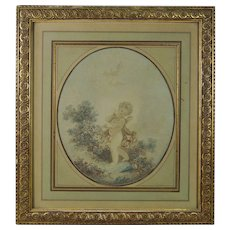 18th Century French Colored Engraving Cupid Cherub Putti L'Amour By Janinet After Fragonard Circa 1777