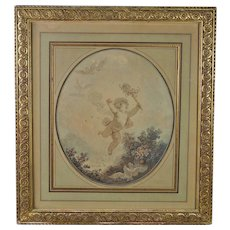 18th Century French Colored Engraving Cherub Putti  Jester La Folie By Janinet After Fragonard Circa 1777