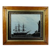 Antique 19th Century British Reverse Painted Glass Picture, Sailing Ship, Silhouette, USS Perseverance